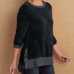 Soft Surroundings Bonita Chenille Sweater Black